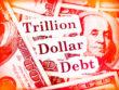 "Hundred dollar bills with the words ""Trillion Dollar Debt."""