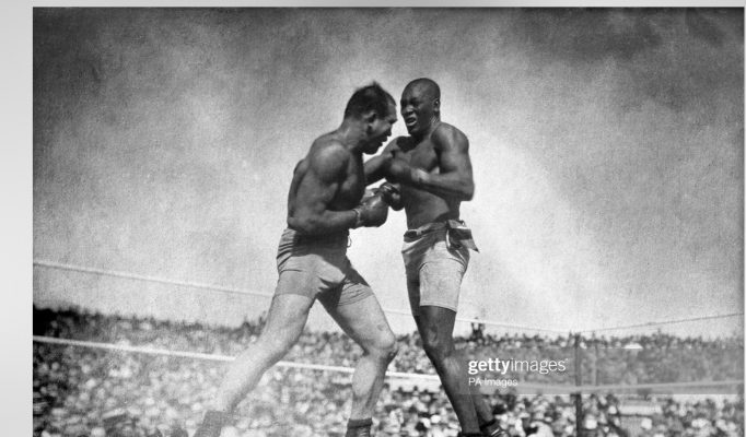 Jim Jeffries (left) vs. Jack Johnson - 1905